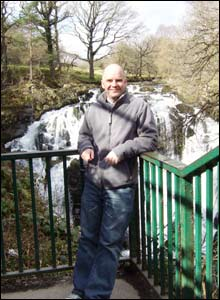 Bryan Dillon photographed overlooking Swallow Falls at Betws Y Coed