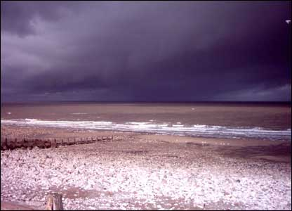 Storm approaching Llanddulas, as sent in by Peter Roberts from Abergele