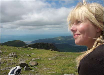 Stephen Gregory's girlfriend Kristine Gronemann-Damberg at the summit of Cadr Idris overlooking the Mawddach Estuary