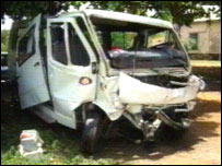 Minibus involved in the accident
