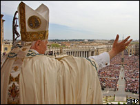 Pope Benedict XVI speaking to the crowd gathered in St Peter's Square, Vatican