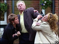 Coronation Street character Les Battersby, his former wife Janice and current partner Cilla 