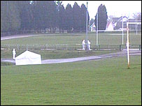 The park in Bargoed, with a tent around where the body was found