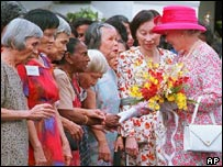 The Queen greets church-goers at St Marys Cathedral in Kuala Lumpur