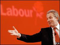 Blair wears red tie