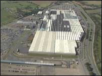 Aerial shot of the Peugeot Ryton plant