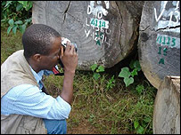 Silas Siakor photographing felled timber (Image: Goldman Prize)