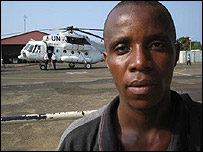 Silas Siakor at UN airport, Monrovia (Image: Andy Black)