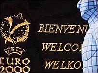 A scoreboard from Euro 2000