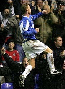 Nicky Butt celebrates scoring for Birmingham