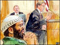 Artist illustration of Zacarias Moussaoui (left) and defence witness Dr Paul Martin