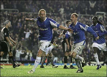 Mikael Forssell celebrates scoring the winner for Birmingham