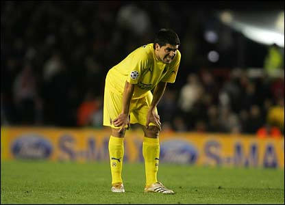 Riquelme is left disappointed at the final whistle