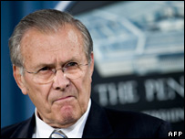 Donald Rumsfeld giving a briefing to the Pentagon