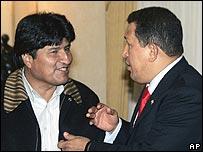 Bolivian President Evo Morales with Hugo Chavez of Venezuela