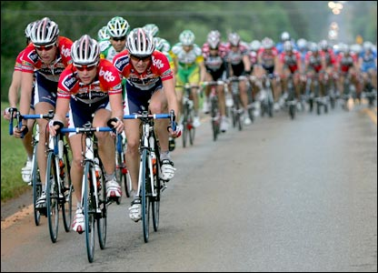 Members of the Davitamon-Lotto team head the peloton on stage two of the Tour de Georgia