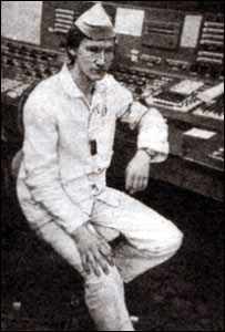 Olexiy Breus in the control room at Chernobyl, 1984