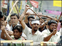 Opposition workers during the strike in Dhaka