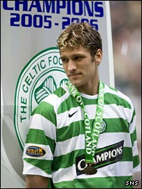 Stilian Petrov stands on the sidelines during title celebrations