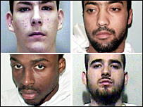 (Clockwise from top left:) Peter Williams, Yusuf Bouhaddaou, Indrit Krasniqi and Damien Hanson all killed while under supervision