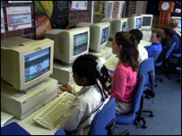 Primary schoolchildren at computers