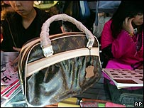 A fake Louis Vuitton handbag on sale in Beijing Silk Street market