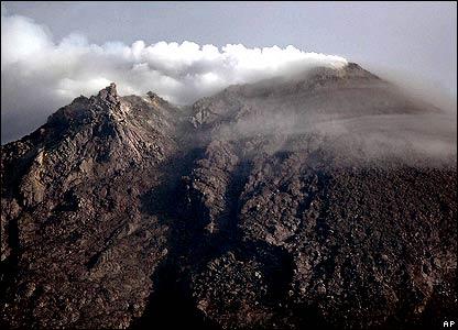 Mount Merapi's crater
