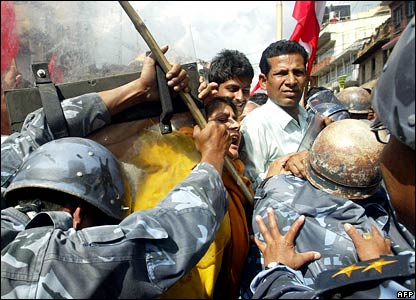 Nepalese protesters scuffle with police