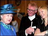 The Queen meets BBC broadcasters Chris Evans and Jo Whiley