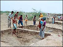 Villagers involved in manual labour in India