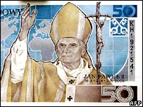 Polish 50 zloty note showing Pope John Paul II