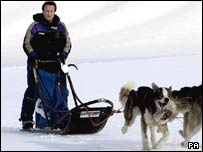 David Cameron driving a dog-sled in Norway