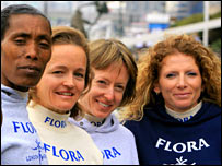 (Left to right) Berhane Adere, Mara Yamauchi, Deena Kastor and Constantina Tomescu-Dita line up for the marathon