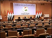 Empty chamber of Iraqi parliament