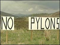 Anti-pylons campaign sign
