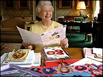 The Queen with some of her birthday cards