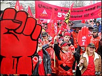 Workers stage a warning strike at Boeblingen earlier this month