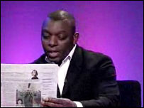 Garth Crooks reads the back pages on Newsnight