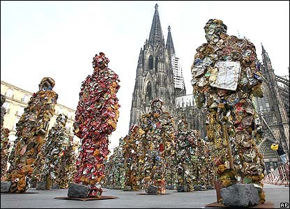Trash sculptures outside Cologne Cathedral