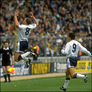 Paul Gascoigne celebrates scoring for Spurs at Wembley
