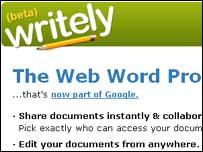 Screengrab of Writely homepage, Google