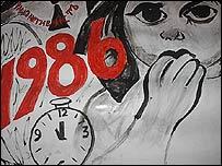 Dibujo de niño ucraniano en Cuba acerca de la tragedia de Chernobyl