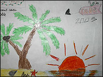 Dibujo de niño ucraniano acerca de su estadía en Cuba