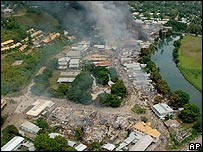 Smoke billowing over Chinatown in Honiara - 2006