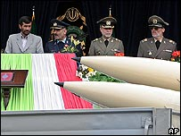 Iranian leaders review (unidentified) rockets at Tehran military parade on 18 April