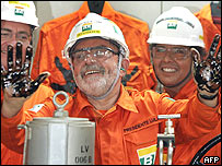 Presidente Lula da Silva en plataforma P-50.