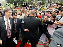 Microsoft Chairman Bill Gates arriving at Hanoi polytechnic University