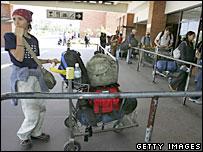 Tourists waiting to leave Kathmandu International Airport 20/4/06