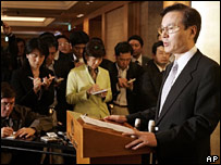 Japanese Vice Foreign Minister Shotaro Yachi speaking to reports