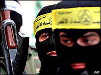 Masked members of the al-Aqsa Martyrs Brigade